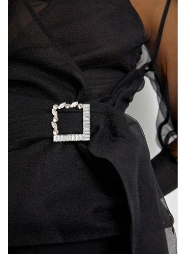 Setre Siyah Balon Kol Tokalı Kruvaze Bluz Siyah